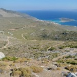 View from Agia Moni, the Monastery on the hilltop, down to the quaint port town of Diakofti.