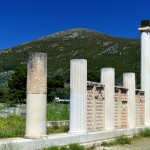 Columns marking the entrance to the ancient hot baths and springs.
