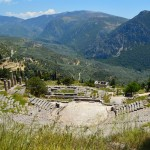 View of the ancient theatre and the Temple of Apollo