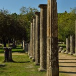 Palaestra of Olympia, a square complex of 72 columns bedded with sand for athletes to perform boxing, wrestling and jumping