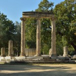The Philippeion, the only monument in Olympia dedicated to a human, which once containied marble and gold statues of Philip and his family, including Alexander the Great