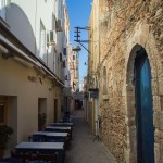 Typical narrow alley way in the old town,