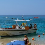 Agios Nikitas and a water taxi.