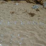 Beach art on Kalamitsi beach.