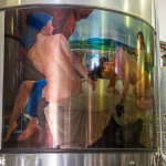 Artwork even adorns the fermentation tanks at Nicos Lazaridis