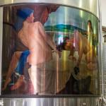 Artwork even adorns the fermentation tanks at Nicos Lazaridis