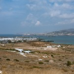 Looking across the island to Antiparos town and Paros in the background